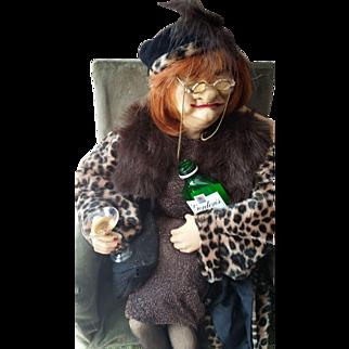 Artist doll Connie - Lady enjoying her drink