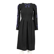 1970's Adolfo Black Knit Dress with Blue Beaded Bow Designs