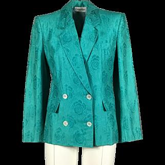 Vintage 1980's women's Calvin Klein turquoise cotton damask blazer