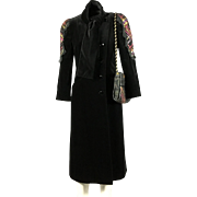 1980's Koos Van den Akker Couture black velvet evening coat and bag, size 6