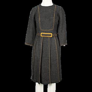 1960's Louis Feraud charcoal grey wool dress
