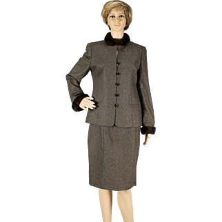 Vintage Louis Feraud brown wool suit with mink collar and cuffs