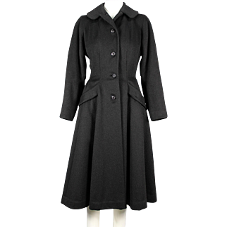 1950's Black Wool Blend Princess Swing Coat, Fit and Flare