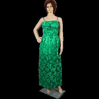 1960's Green Satin Damask Evening Dress