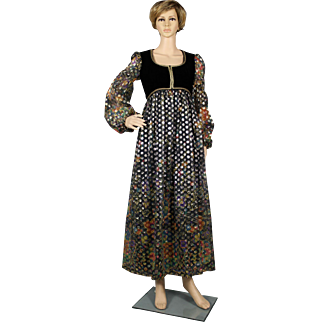 1970's Peasant Style Maxi Dress   // Evening Dress // Hostess Gown