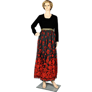 1970's Red and Black Maxi Dress / Evening Dress / Hostess Gown
