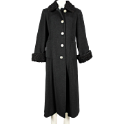 Charcoal grey wool/cashmere coat with black Persian lamb collar and cuffs, 80's does 40's.