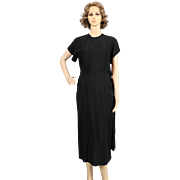 1940's Black Rayon Dress with Draped and Tied Skirt Panel