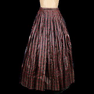 1970's long red and metallic gold plaid silk taffeta skirt // Holiday skirt