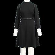 Vintage 1960's Black Wool Knit Dress / Size Medium / Abella, Paris
