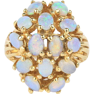 Vintage Opal Cluster 14K Ladies Ring
