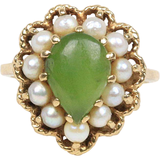Vintage Spinach Jade and Natural Pearl 10K Gold Ring
