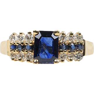 Vintage Sapphire and Diamond !4K Yellow Gold Ladies Ring