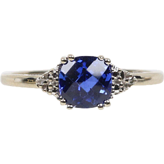 Vintage Synthetic Blue Sapphire and Diamond 10K White Gold Ladies Ring