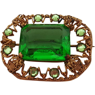 Czechoslovakian Czech Powerful Rich Green Gilt Costume Jewelry Brooch