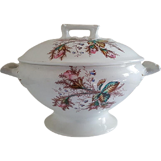 Victorian Moss Rose Ironstone Large Soup Tureen English