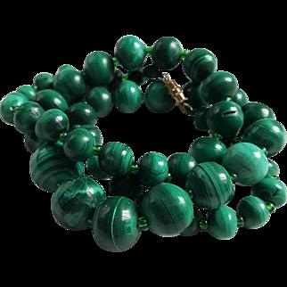 """Vintage 22"""" Malachite Gemstone Beaded Necklace"""