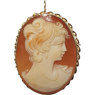 Vintage 10k Yellow Gold Carved Shell Cameo Ladies Portrait Pendant Brooch Pin