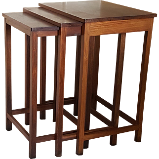 Vintage RETRO ROSEWOOD Nesting Tables from the Chamarajendra Technical Institute Chamarajendra Academy of Visual Arts CAVA Mysore India