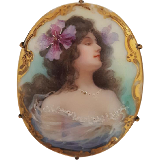 Art  Nouveau Brooch Porcelain Young Brunette Woman Portrait Purple Hibiscus Flower Antique