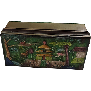 Vintage Antique Chinese Asian Postage Stamp Box Brass with Enamel Paint