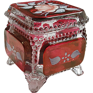 Vintage Carnival Cranberry Glass Trinket Box Hand Painted Roses Shabby Chic