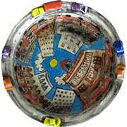 """Handcrafted , Whimsical, """"HURRY, HURRY !!"""" Ceramic Bowl Featuring Fire Station #12 by Nisha"""
