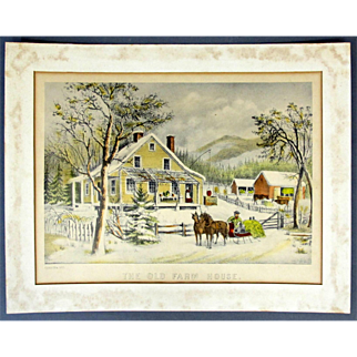 "1Currier & Ives hand colored lithograph ""The Old Farm House."" 1872"