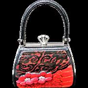 Early Debbie Brooks New Petite Handbag Red Flower Lace