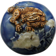 Japanese 19th C. Manju Porcelain Netsuke Featuring Foo Dog