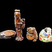 Four Meiji Period Wood Carved Netsukes: Turtle, Foo Dog, Lady, Polychrome Figure