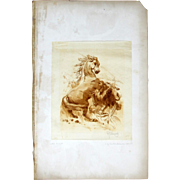 Signed Unique Etching BY Frederick Stuart Church