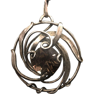 American arts and crafts silver pendant with quartz stone