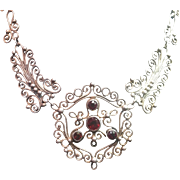 American arts and crafts silver and garnet necklace