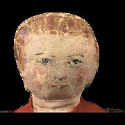 American folk art oil painted face rag doll
