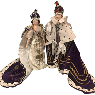 Vintage Liberty king and queen cloth dolls
