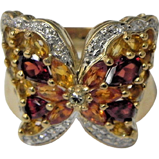 Vintage 14 Karat Gold Butterfly Ring set with Diamonds Citrines and Garnets Custom made