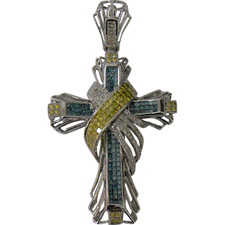 Spectacular Large Cross Pendant with Fancy Colored Diamonds set in White 14 Karat Gold ! 3 inches  Long