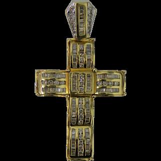 Impressive Large Diamond 14 karat Gold Cross