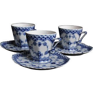 Royal Copenhagen - Rare Cup and saucer # 1036 - Blue Fluted Full Lace - Gargoyles - Unique China - Excellent Condition - First Quality