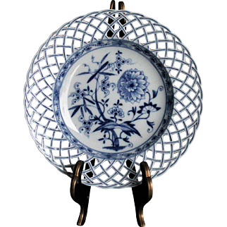 KPM Berlin - Unique Reticulated Plate - Blue Onion - 1800's - German Royal China - Porcelain - Scepter