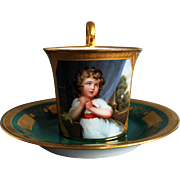 Unique Antique Cup with Saucer ROYAL VIENNA nr. 815 - Porcelain Hand Painted ca. 1815 year