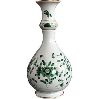 Meissen GREEN INDIAN Beautiful Vase with Gildings ca. 1934 year