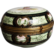 Unique Huge Jewelry Box Casket - Ackermann & Fritze - German Porcelain - Hand Painted - Royal Vienna Style - 1880's.