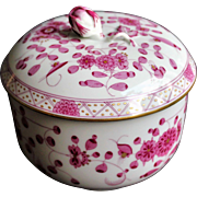 Meissen - Purple Indian - Large Casket / Lidded Bowl - 1934 year - Excellent Condition - First Quality - Hand Painted in Flowers Motive