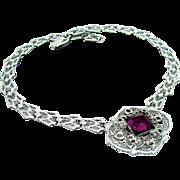 "Vintage, Edwardian, Signed ""Helgen"" Amethyst Glass & Rhodium Filigree Collar Necklace"