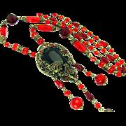 "Vintage, Art Deco, Czech Red Glass & Gilded Filigree Sautoir ""Flapper"" Necklace"