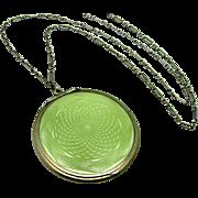 "Vintage, Art Deco, Hallmarked Austro-Hungarian, Sage Guilloche Enamel ""800"" Silver Compact Necklace"