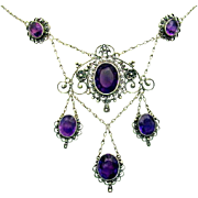 "Antique, Edwardian, Italian, Genuine Amethyst  & ""800"" Silver Filigree Necklace"