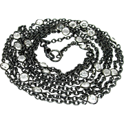 Antique, Victorian, 60 Inch Paste & Gunmetal, Lorgnette Guard Chain Necklace